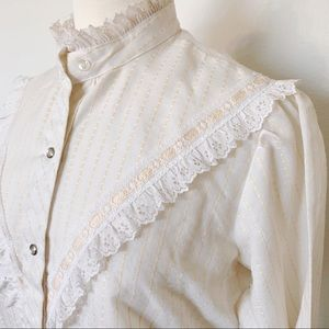 VINTAGE 70s Prairie Boho Hippie long sleeve blouse